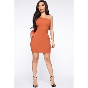 Fashion Nova Cognac Sweater Mini Dress NWT Large